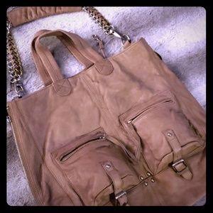 Pour La Victoire Taupe Leather Hobo Purse w/ Chain